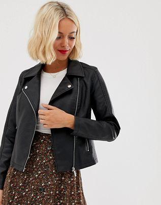 New Look leather look biker jacket in black$53.00