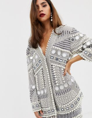 mirror and pearl oversized jacket$237.00