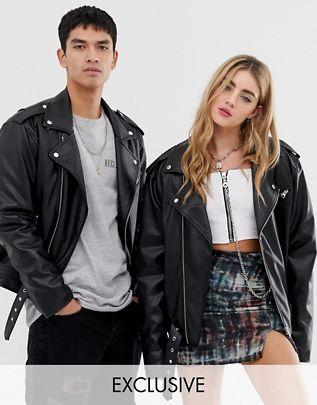Reclaimed Vintage inspired unisex PU biker jacket $111.00