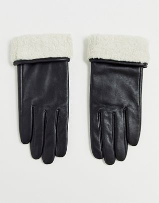 leather gloves with touch screen and borg trim in black $32.00