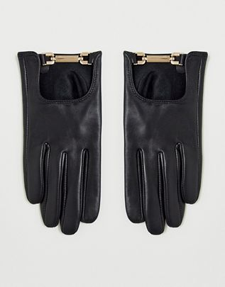leather gloves with gold snaffle hardware with touch screen in black $32.00