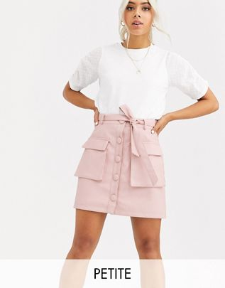 Petite button front leather look mini skirt with utility pockets $56.00