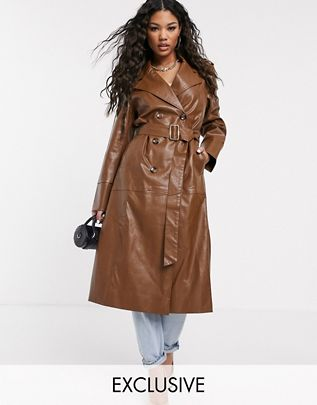 faux leather belted maxi coat $127.00