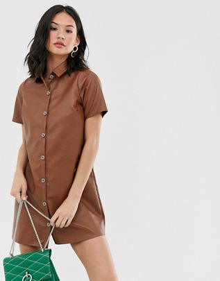 Girl  shirt dress in faux leather $48.00