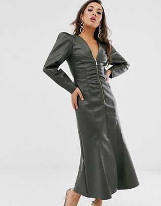 leather look zip through midi dress with pephem $103.00