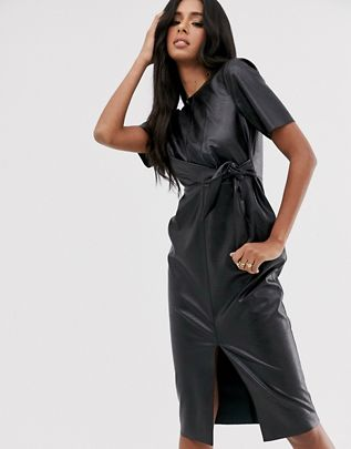 leather look tie side midi pencil dress $72.00