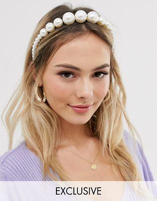 London Exclusive graduated pearl headband$13.00