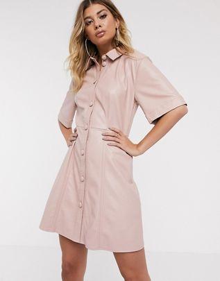 leather look mini button through shirt dress $72.00