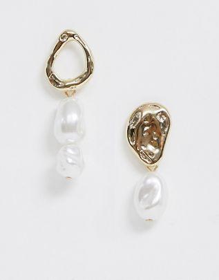 Liars & Lovers gold & faux pearl asymmetric drop earrings $13.00