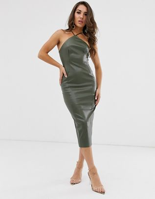 halter pu bodycon midi dress $64.00