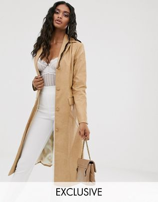 longline jacket in vintage faux leather$98.00