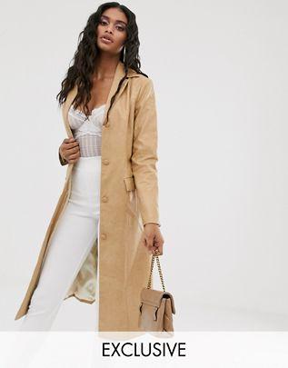 longline jacket in vintage faux leather$98.00