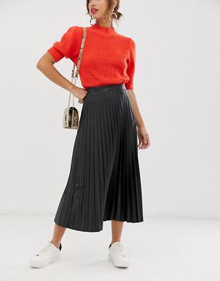 leather look pleated midi skirt $48.00
