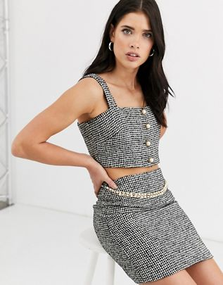 boucle structured top two-piece with pearl button $42.00
