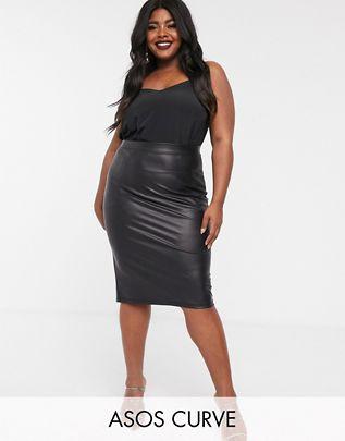 Curve leather look midi skirt $29.00