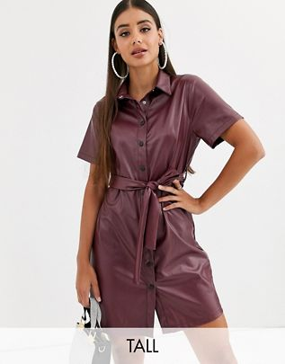 Tall leather look shirt dress with belted waist in burgundy $53.00