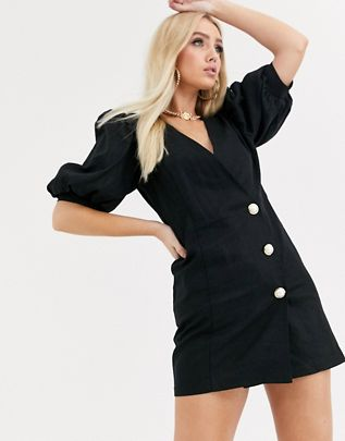puff sleeve linen mini dress with pearl buttons $51.00
