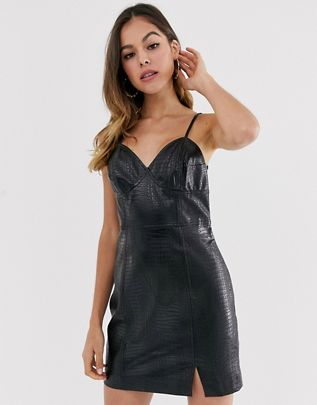 faux leather strappy mini dress $96.00