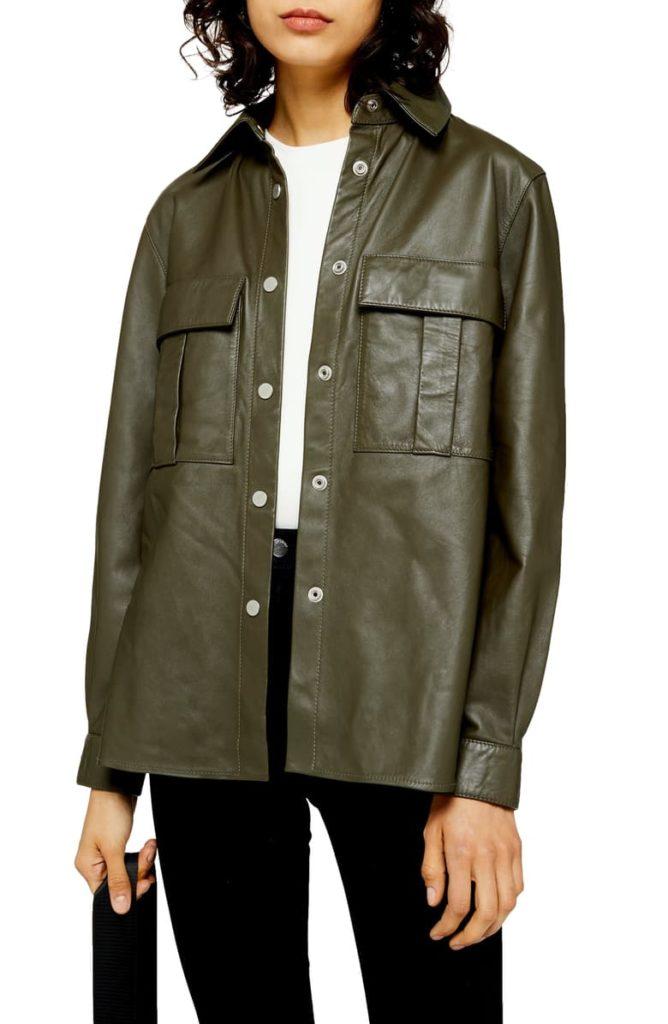 Leather Shirt Jacket, Alternate, color, OLIVELeather Shirt Jacket $320.00