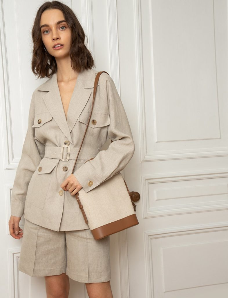 TAN LINEN BELTED JACKET$239.00