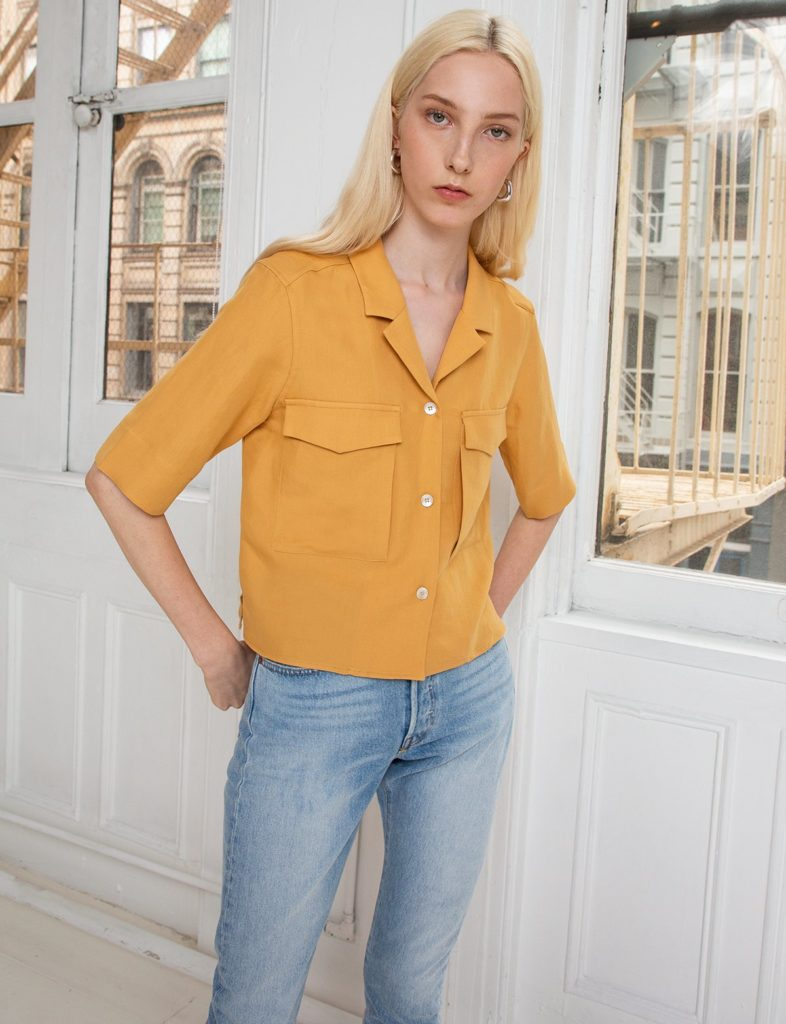 MARIGOLD YELLOW CARGO CROP SHIRT $69.00