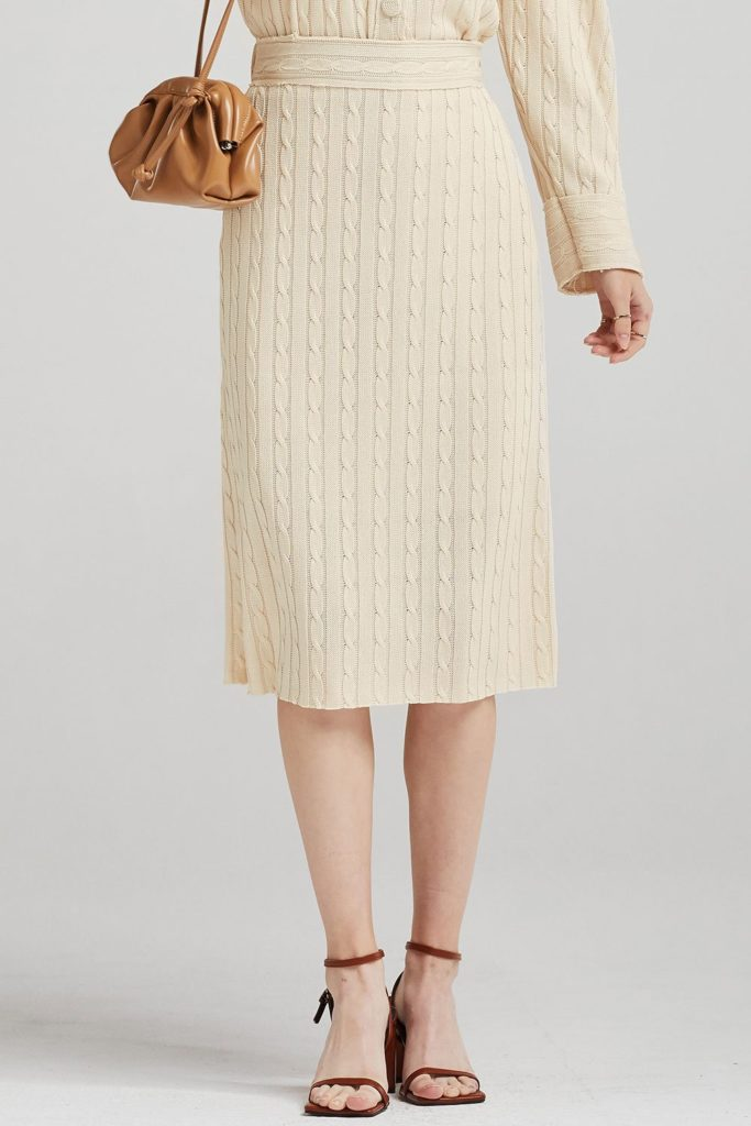 Alice Cable-Knit Long Skirt $68.90