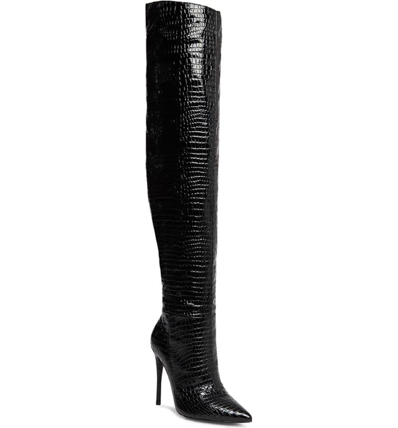 Winnie Harlow x Steve Madden Harlow Reptile Embossed Over the Knee Boot $169.95
