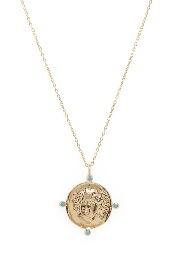 Medusa Pendant Necklace, Main, color, METALLIC GOLD $88.00