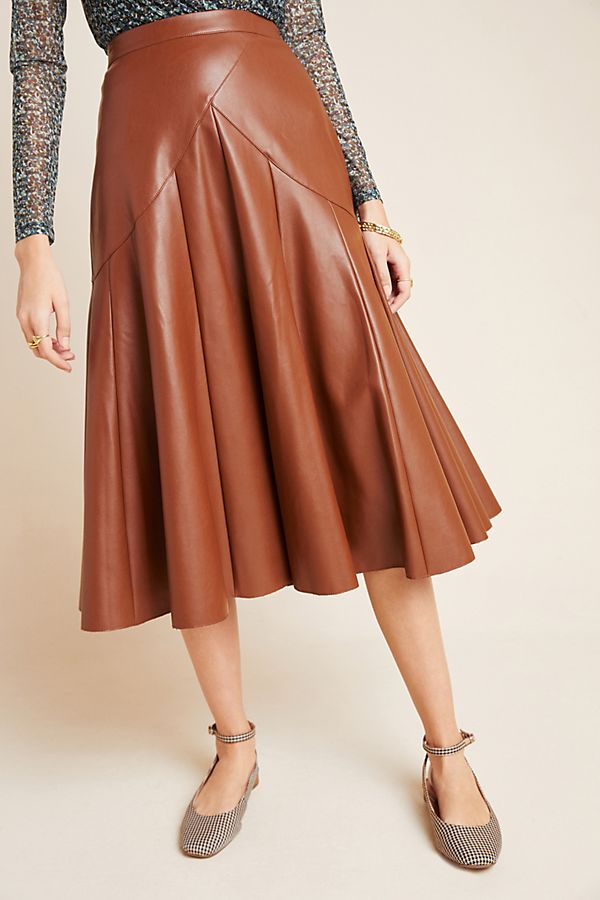 Mariska Faux Leather Midi Skirt $130.00