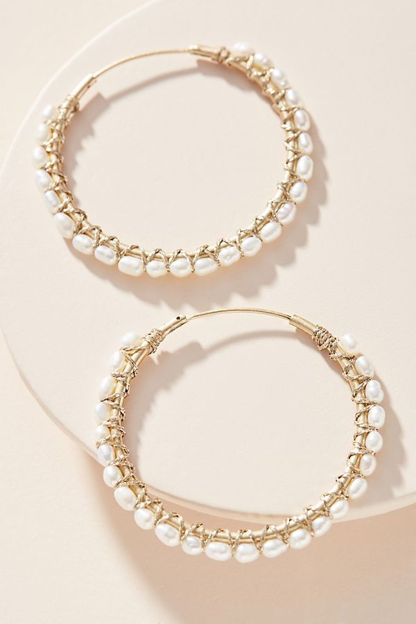Wrapped Pearl Hoop Earrings $48.00