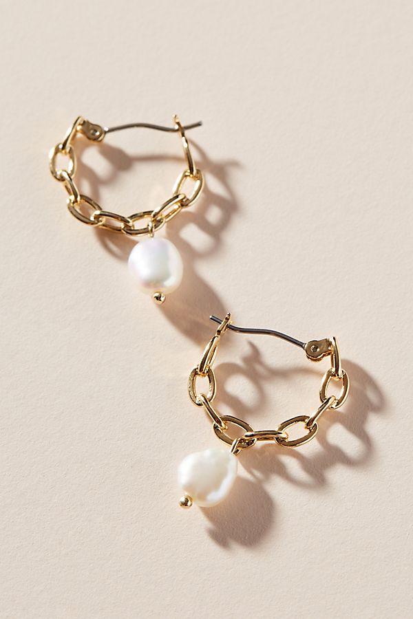 Rise Pearl Huggie Hoop Earrings $48.00