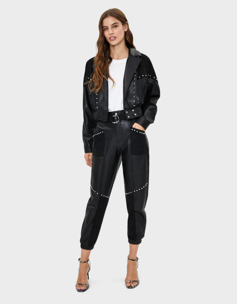Faux leather pants with studs $55.90