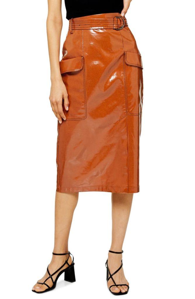 Belted Vinyl Midi Skirt $90.00