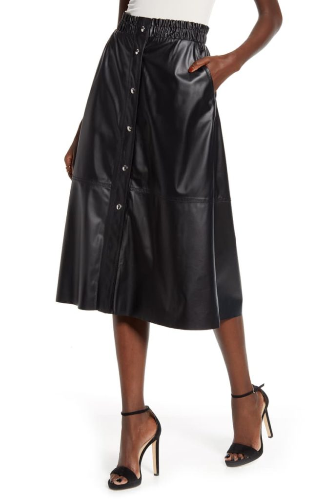 Snap Front Faux Leather Midi Skirt $88.00
