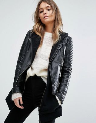 Goosecraft bottom zip detail biker jacket$403.00