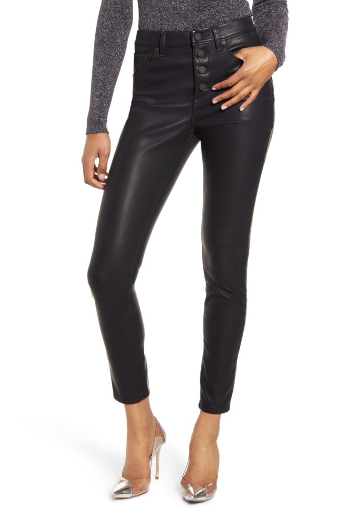 Faux Leather Button Front Pants $98.00