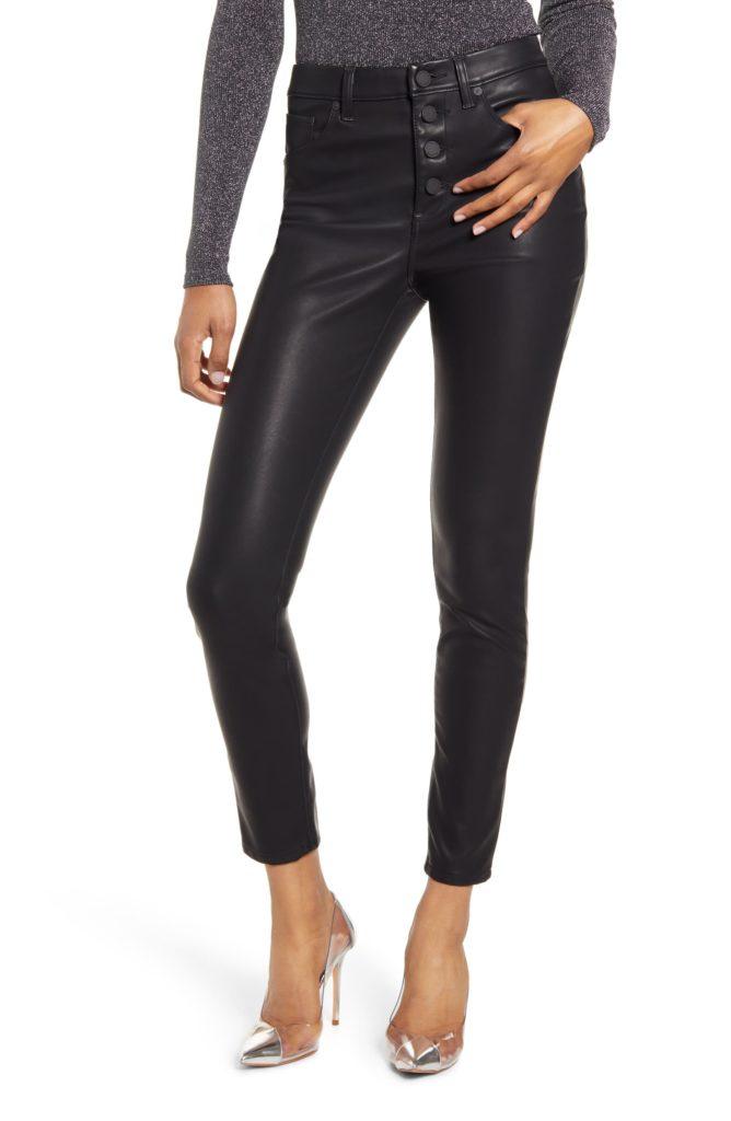 Faux Leather Button Front Pants $98.00