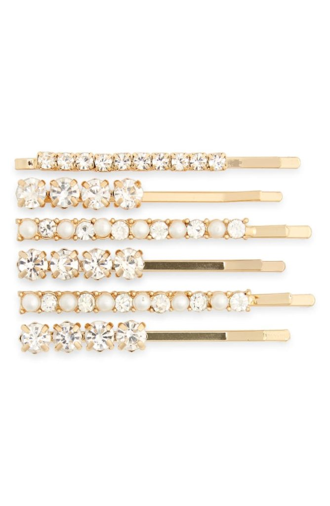 Set of 6 Imitation Pearl & Crystal Hair Clips $19.00