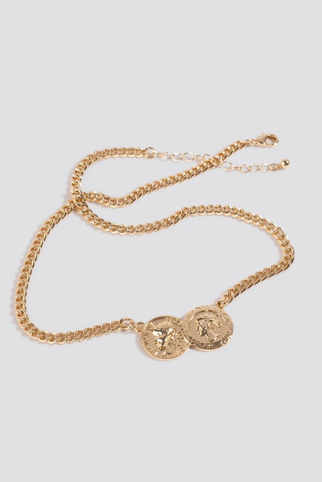Double Connected Coin Necklace Gold $14.95