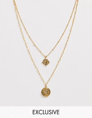 Vintage inspired 14k gold plated medallion coin multirow necklace $56.00
