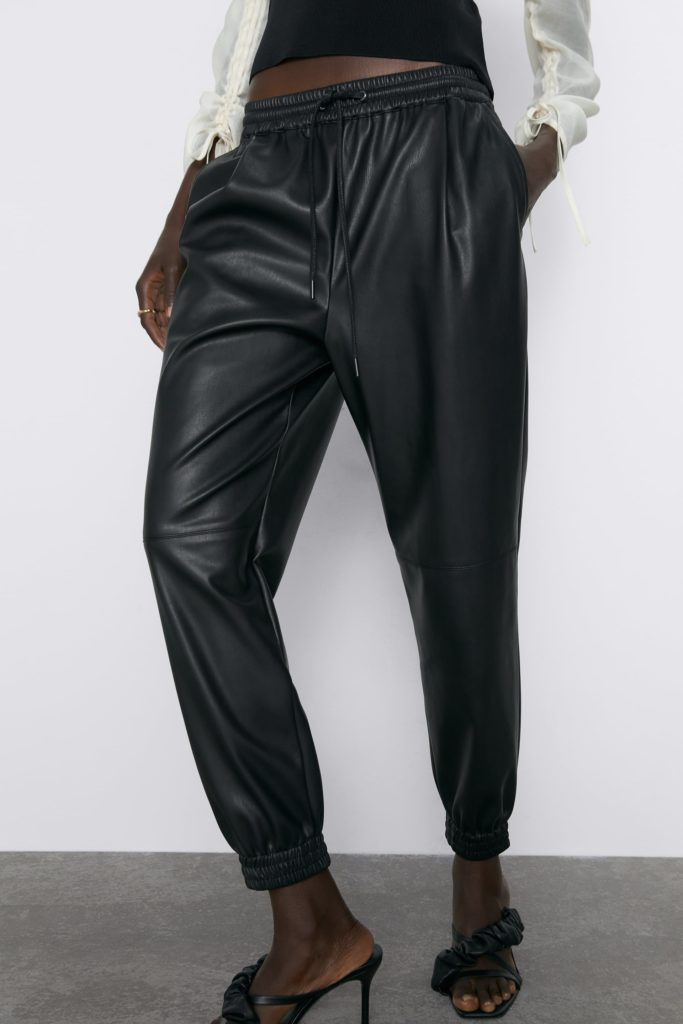 FAUX LEATHER JOGGING PANTS $39.90
