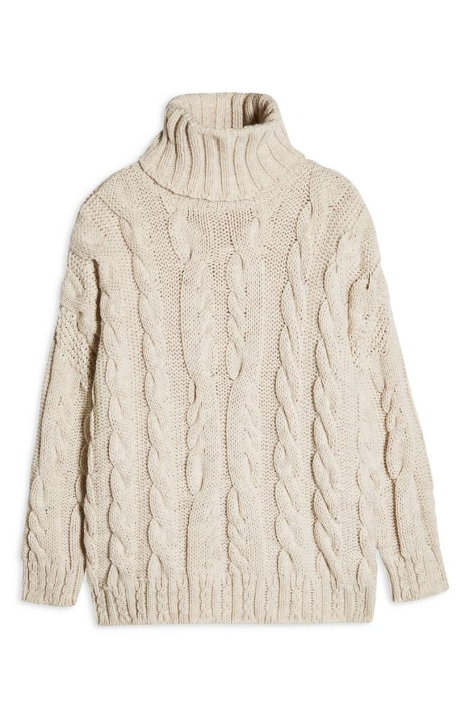 Chunky Cable Turtleneck Sweater $95.00