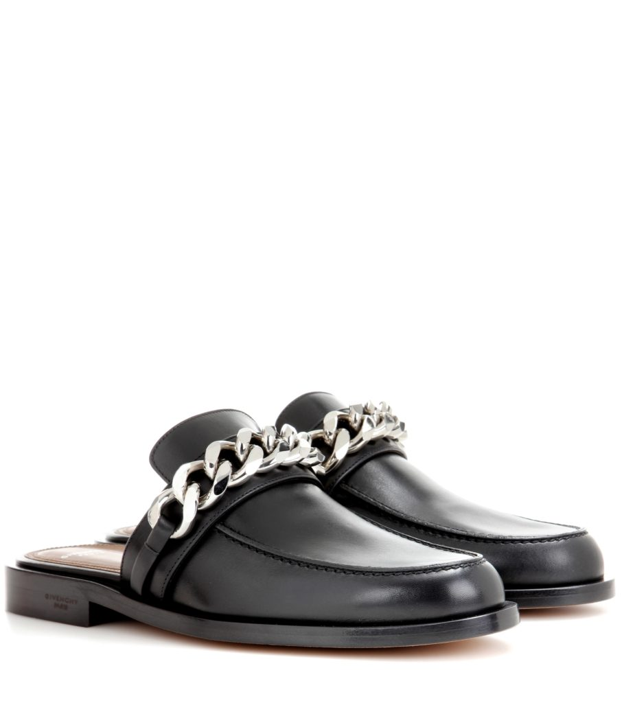 GIVENCHY Chain leather slippers $ 690