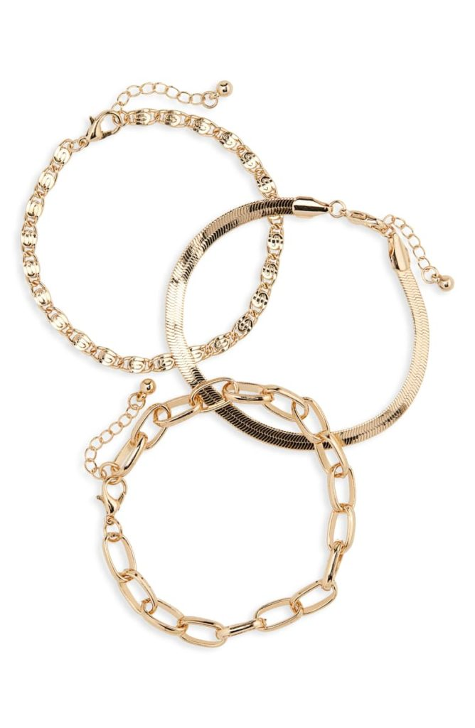 Set of 3 Mixed Chain Bracelets $29.00