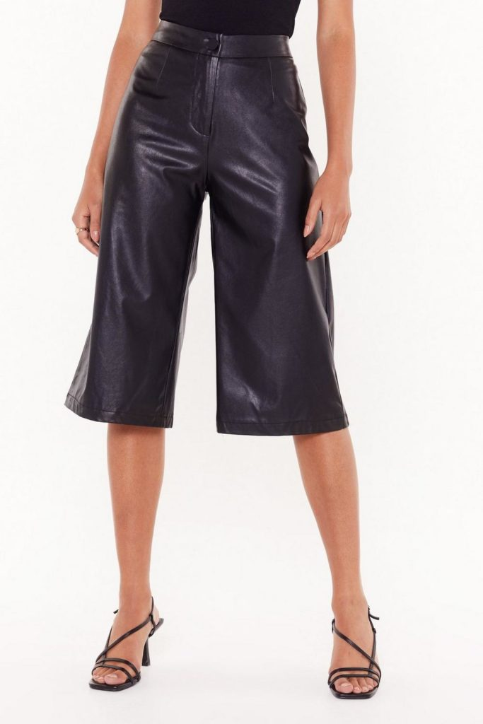 Leather Underestimate Me Faux Leather Culottes $35.00