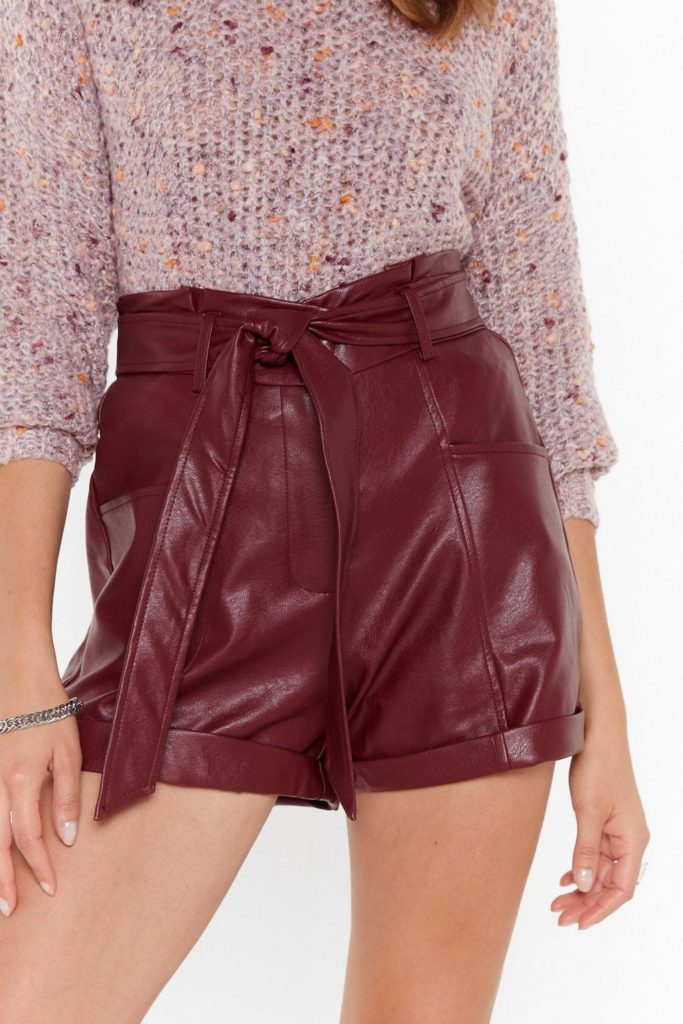 Leather It's Right or Wrong Faux Leather Belted Shorts $40.00