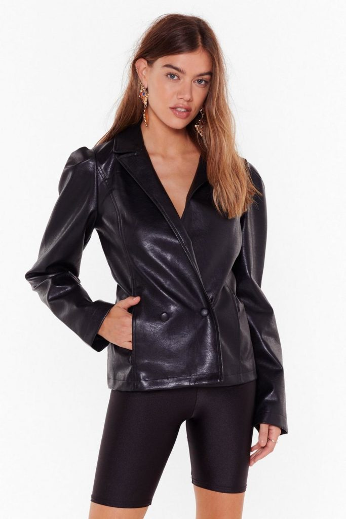 pu double breasted puff sleeve blazer $60.00