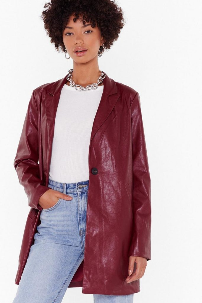Faux Leather Blazer $70.00