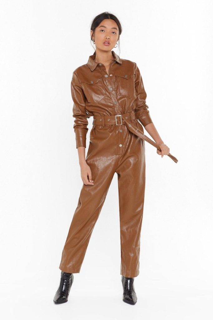 Working On It Faux Leather Belted Boilersuit $65.00