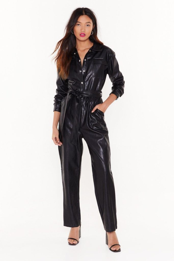 Life on Mars Faux Leather Belted Jumpsuit $75.00